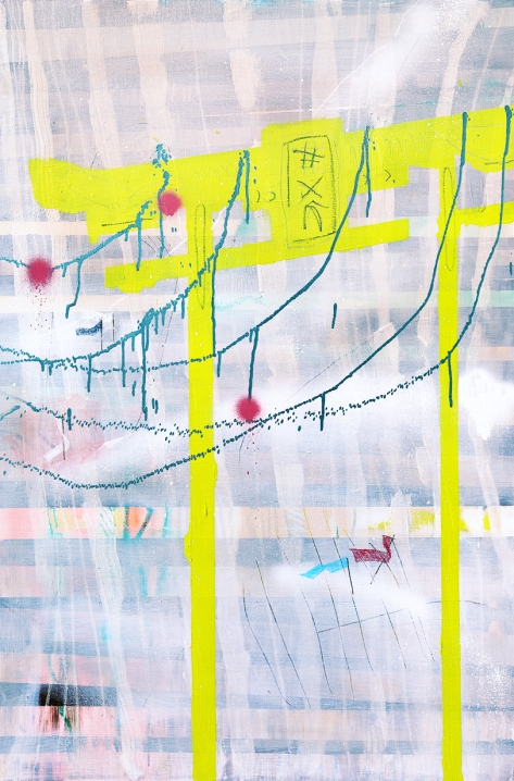 Gate, Japan, the middle of winter/oil, oil pastel, acrylic spray on canvas/120x80 cm