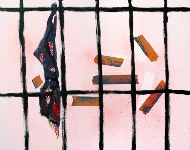 Bathhouse/2018/oil, oil pastel, tape and acrylic spray on canvas/80x100 cm