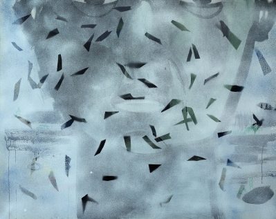 Birds and face/2018/oil, oil pastel, acrylic spray on canvas/110x140 cm