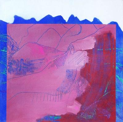 Mountains/2018/ oil, oil pastel, acrylic spray on canvas/70x70