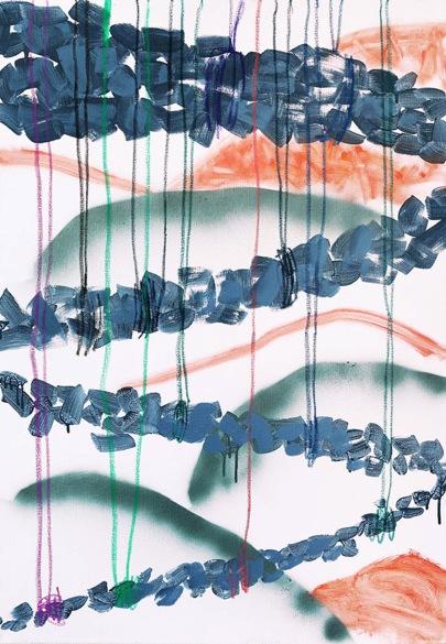 Route/2018/acrylic, oil pastel, acrylic spray on canvas/100x70 cm