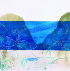 Ocean/2018/oil, oil pastel and acrylic spray on canvas/70x70 cm